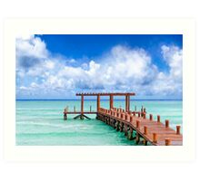 A Beautiful Caribbean Sea Pier In Playa del Carmen Art Print