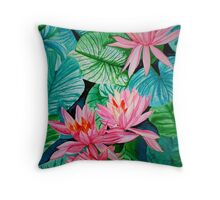 Flames of Life in Waterlilies Throw Pillow