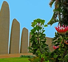 King Protea Flower & Afrikaans Language Monument, Paarl, South Africa by vadim19