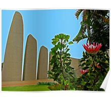 King Protea Flower & Afrikaans Language Monument, Paarl, South Africa Poster
