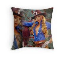 the all American Cowgirl Throw Pillow