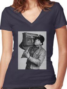LL Cool J B/W Women's Fitted V-Neck T-Shirt