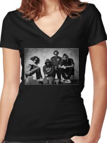 Black Hippy B/W Women's Fitted V-Neck T-Shirt