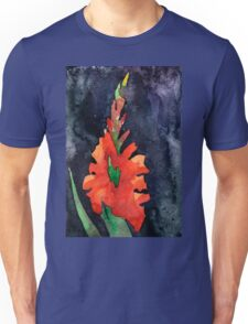 watercolor drawing of red gladiolus Unisex T-Shirt