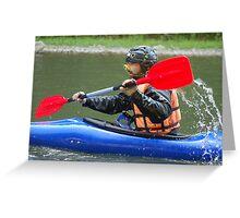 Kayakman in action Greeting Card