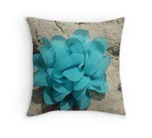 Turquoise flower Throw Pillow