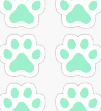 Mint green paw print stickers, set of six Sticker