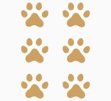 Orange paw print stickers, set of six by Mhea