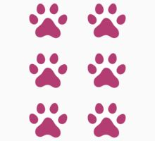 Hot pink paw print stickers, set of six by Mhea
