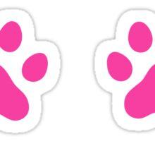 Hot pink paw print stickers, set of six Sticker