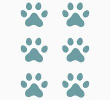 Aqua blue paw print stickers, set of six by Mhea