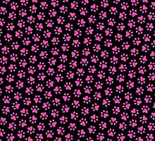 Hot pink paw prints on black background by Mhea