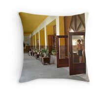 Rustic Tropical Alley Throw Pillow