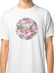 Rainbow Fuchsia Floral Pattern - with grey Classic T-Shirt