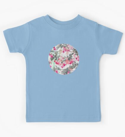 Rainbow Fuchsia Floral Pattern - with grey Kids Tee