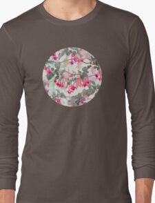 Rainbow Fuchsia Floral Pattern - with grey Long Sleeve T-Shirt