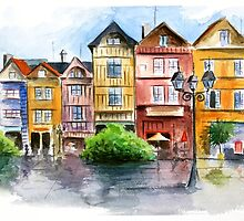 Watercolor in town by Nicolaiivanovic