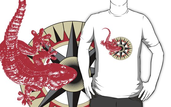 Red Gecko Lizard On Compass Rose by Zehda