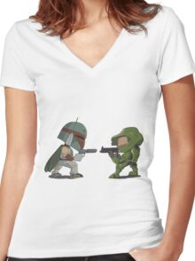 HUNTER VS SOLDIER Women's Fitted V-Neck T-Shirt