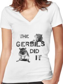 The Gerbils Did It Women's Fitted V-Neck T-Shirt