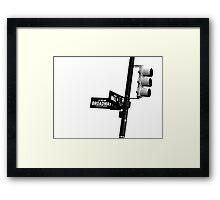 Cnr of Wall st and Broadway (Grain) Framed Print