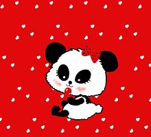Cute Baby Girl Panda cartoon red polkadot by Cartoonistlg