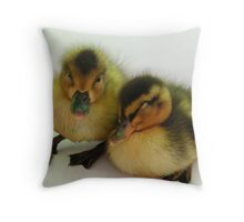 over run by ducks chilling Throw Pillow