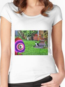 Saturated Egg Man getting Judged by the Neighborhood Cat Women's Fitted Scoop T-Shirt