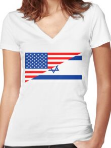 usa israel Women's Fitted V-Neck T-Shirt