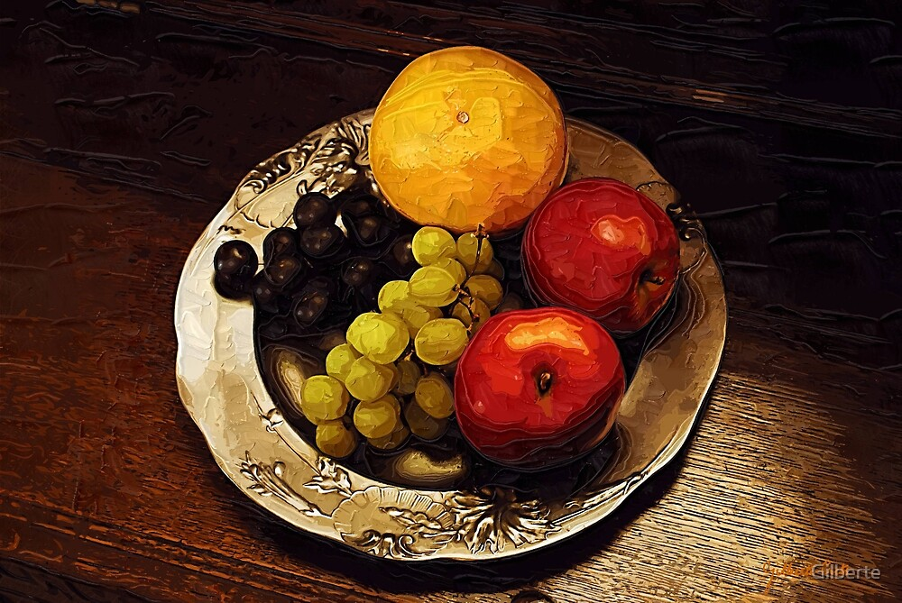 Pewter Plate with Fruit by Gilberte