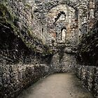 This was a roofed area near dormitory Ruins of abbey Rievaulx North Yorkshire England 198406020071 by Fred Mitchell