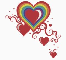 squiggle rainbow hearts Baby Tee