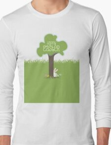 Easter bunny Easter eggs hiding behind tree Long Sleeve T-Shirt