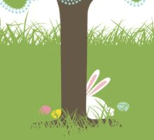Easter bunny Easter eggs hiding behind tree Sticker