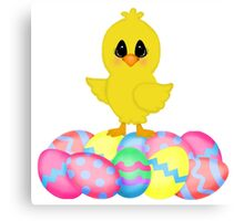 Easter Chick on Pastel Eggs Canvas Print