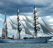 EAST GERMAN, TALL SHIP ---  NEWPORT, RHODE ISLAND by Edward J. Laquale