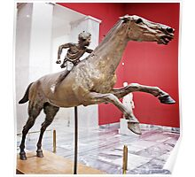 Bronze statue of a horse and young jockey Poster