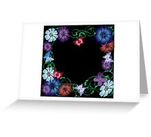 butterflies and flowers on black Greeting Card