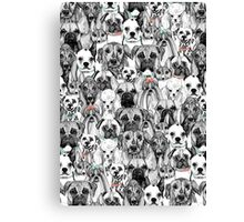 just dogs coral mint Canvas Print