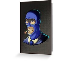 Blue Spy! Print Greeting Card