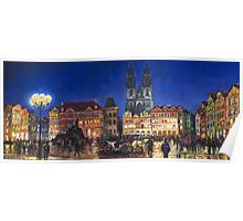Prague Old Town Square Night Light Poster