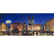 Prague Old Town Square Night Light Photographic Print