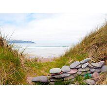stone wall shelter on a beautiful Irish beach Photographic Print