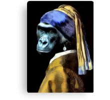 Gorilla With A Pearl Earring Canvas Print