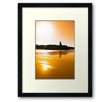sunset view of the castle beach and cliffs in Ballybunion Framed Print