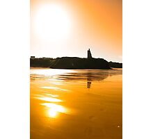 sunset view of the castle beach and cliffs in Ballybunion Photographic Print