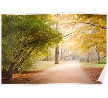 Yellow and green autumn leaves Poster