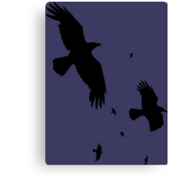 A Murder of Crows In Flight Vector Silhouette Canvas Print