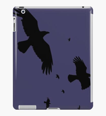 A Murder of Crows In Flight Vector Silhouette iPad Case/Skin