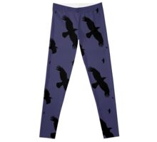 A Murder of Crows In Flight Vector Silhouette Leggings